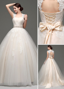 Decote V em coração Cauda até ao chão Com renda De tule Vestido de noiva
