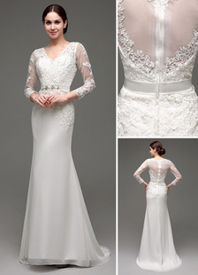 Sheath/Column Long Sleeves Illusion Back V-neck Bridal Gown With Rhinestone Sash