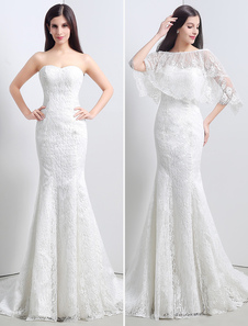 Lace Sweatheart Trumpet/Mermaid Wedding Dress With Lace Cape