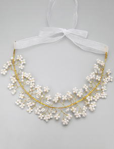 Pérola de ouro artesanal e colar de cristal noiva