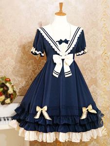 Матрос стиль Лолита платье короткие рукава Колледж школа