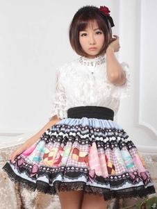 Lolita doce saia em renda com impressão de Cookies