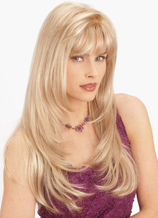 Blonde 26-Inch Inner Curly Ends Women's Long Fiber Wig With Layered Bangs