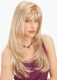 Fibra longa peruca loira 26 polegadas interno encaracolado extremidades mulher com franja em camadas