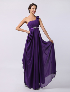Lavender One Shoulder Chiffon Dress with Flower and Beading Detailing