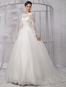 Vestido De Noiva Princesa 2020 Vestido De Baile Mangas Longas Vestido De Noiva Lace Beading Costa De V Ilusão Decote Na Coração Vestido De Casamento Com Cauda