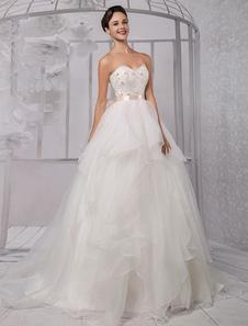 Decote V em coração Com Cauda Com cinto De organza Vestido de noiva