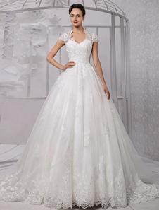 Vestido De Noiva Princesa 2020 Vestido De Baile De Renda Vestido De Noiva Manga De Perolização Boné Vestido De Casamento De Marfim Com Cauda