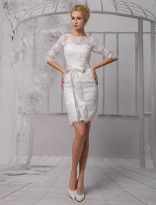 Vestido de novia de encaje con escote redondo y lazo hasta la rodilla  Milanoo