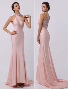 Персик вечернее платье Русалка Холтер бисером платье с поездом Milanoo