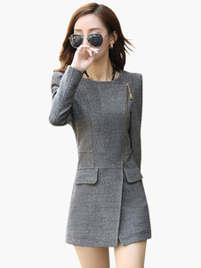 Slim Fit Coat With Asymmetrical Zipper