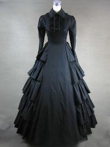 Mangas compridas preto vitoriana traje do vestido de babados Halloween
