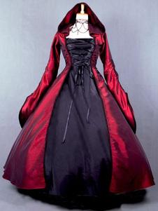 Salem 2020 Traje Da Bruxa Vitoriano Popeline Mangas Compridas Bruxa Vestido Traje Halloween
