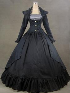 Traje do vestido de mangas curtas preto vitoriana popeline Halloween