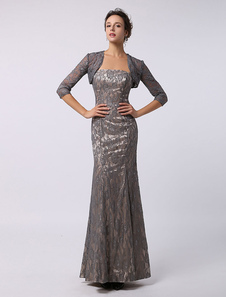 Mermaid Lace Ankle-Length 3/4 Sleeves Mother of the Bride Gown Milanoo