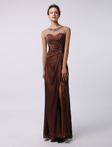 Sheath/Column Ankle-Length Chiffon Illusion Neckline Split Front Beaded Mother of the Bride Dress Milanoo