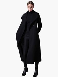 لون نقي ماكسي معطف أسود للمرأة