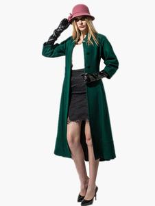 abrigo mujer con 3/4 manga con escote Ilusión de mezclada de lana Color liso Moda Mujer con botones de corte ajustada estilo moderno Invierno