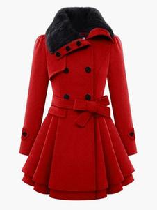 Soprabito Rosso 2020 Cappotto Manica Lunga Peacoat Collo in Pelliccia Sintetica Cintura Sottoveste Invernale