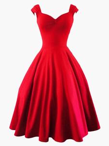 Vestiti Anni 50 monocolore Abiti donna smanicato abiti anni 50 Rosso  cerniera con scollo a V spandex Estate Primavera Autunno vintage