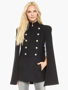 Cappotto invernale da mantello militare con doppio petto nero