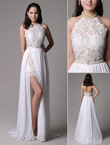 Ivory Halter Neck Lace Applique Beading Chiffon Prom Dress with Long Splits and  Open Back