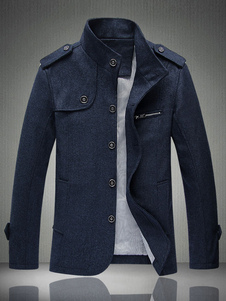 Blue Men Jacket Spring Jacket Stand Collar manga comprida Casaco curto curto Breasted