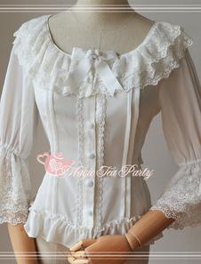 Сладкая Лолита шифон блузка средними Hime рукавами слоистой кружевной отделкой