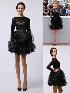 Vestidos de celebridades Emma Stone Cannes Negro de manga larga Vestido de organza de encaje transparente