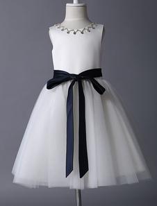Ivory Satin And Tulle Rhinestone Flower Girl Dress With Navy Blue Sash