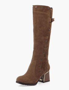 Round Toe Chunky Heel Rivets PU Leather Knee Length Boots
