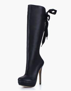 ロングブーツ ピンヒール レディースブーツ ラウンドトゥ ブラック  PU シューズ 14cm リボン パーティー 3cm セクシー レディース靴