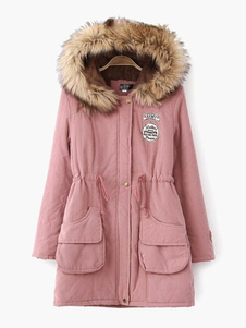 Tie-waist Hooded Faux Fur Cotton-padded Coat For Woman