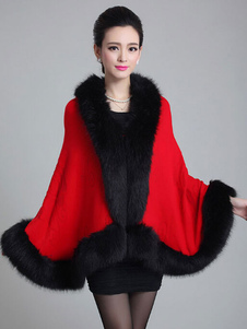 Faux Fox Fur V-Neck Sleeveless Oversized Cape Coat For Woman