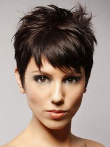 Peluca de 2020 humanos Boycuts marrón oscuro cabello estático de las mujeres