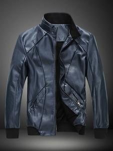 Slim Fit semplice Stand collare giacca di pelle uomo
