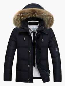 الكاكي مبطن المعطف فروي هود معطف البوليستر كاكي الشتاء أسفل معطف2020