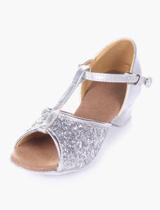 Sapatos de dança 2020 de salão de brilho de Sapatos de dança latina de dedo do pé aberto macio solto para crianças
