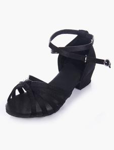 Qualidade preto macio único aberto Toe, sapatos de cetim de salão para crianças