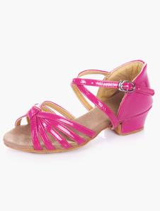 Dedo do pé abertas doce macio solado PU couro Ballroom sapatos para crianças