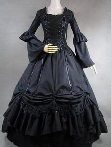Victorian preta rendas até trompete de babados em camadas mangas trajes retrô Halloween