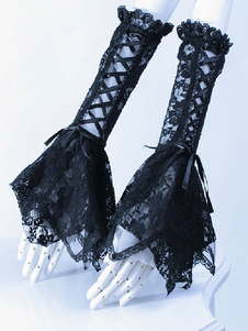Gótico elegante laço luvas acessórios do traje