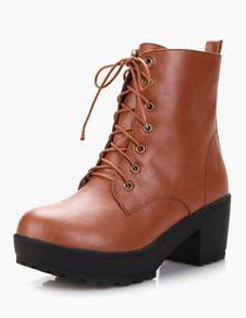 مثير جولة تو مكتنزة كعب بو الجلود المرأة منتصف العجل فارس الأحذية