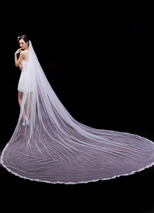 جودة الدانتيل تول واحد-- الطبقة صدفي حافة الحجاب الزفاف 350cm