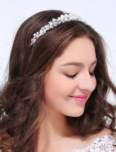 Серебряная металлическая имитация жемчуга, Свадебные украшения для волос