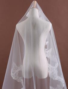 الدانتيل الأنيق تول واحد-- الطبقة صدفي حافة العروس 150cm الحجاب الزفاف