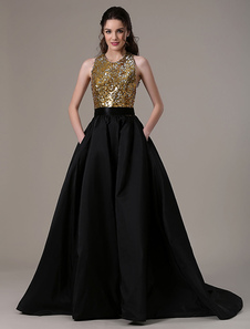 Boda negro vestido bola vestido tafetán bolsillos lentejuelas blusa