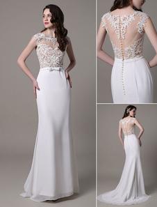 Vestido de novia de encaje con escote transparente y lazo Milanoo