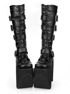 Sola grossa preta fivela redonda Toe Lolita botas de couro do plutônio