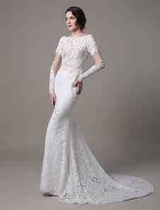 Vestido de casamento de renda vintage com mangas muito pura e apliques de pérolas  Milanoo